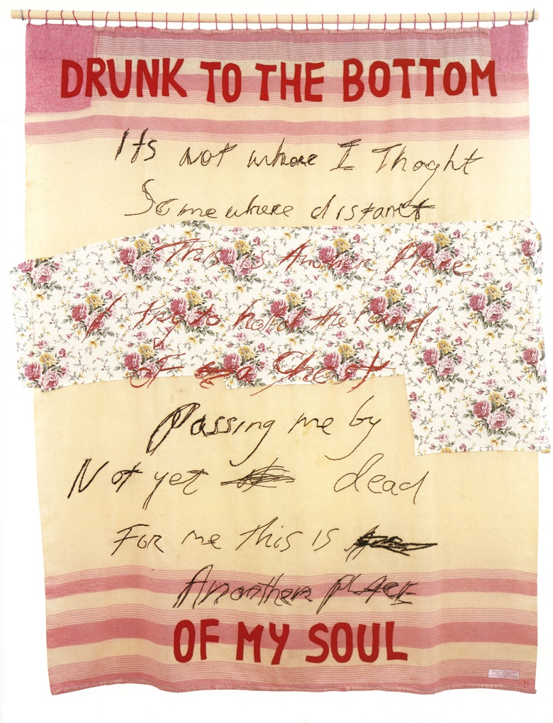 Tracey Emin, Drunk to the Bottom of My Soul, 2002. Appliqué blanket with embroidery. 76 x 63 in (193 x 160 cm). Offered in The George Michael Collection on 14 March at Christie's London