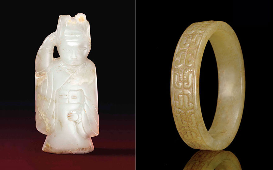 From left an exceptionally rare pale greyish-white jade figural pendant, Qin-han dynasty, 3rd-2nd century B.C. 2  in (5  cm) high, box. Sold for $209,000 on 17 March 2016 at Christie's New York.