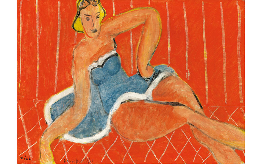 Henri Matisse, Danseuse assise sur une table, fond rouge, 1942. Oil on canvas. 13 x 18⅜ in (33 x 46.5 cm). Estimate £4,500,000-7,000,000. Offered in Hidden Treasures on 27 February at