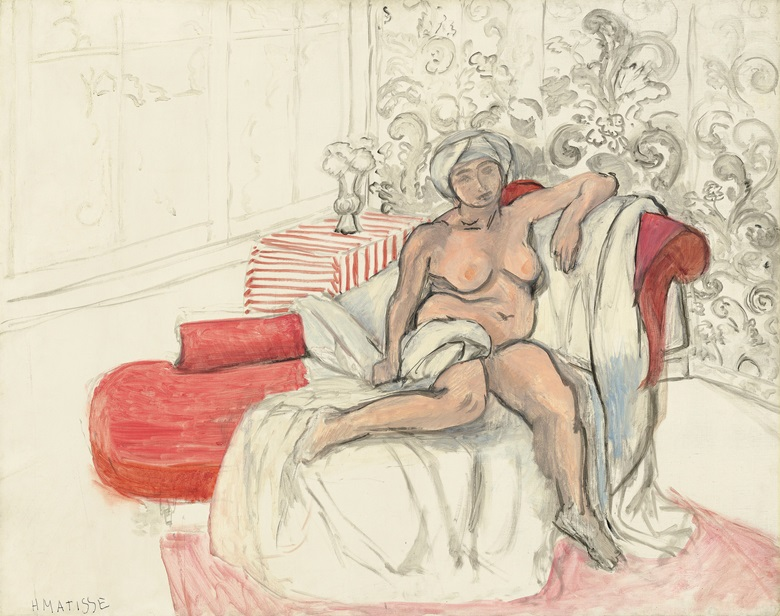 Henri Matisse, Nu sur la chaise longue, 1920. Oil on canvas. 28¾ x 36¼ (73 x 92.1 cm). Estimate £1,500,000-3,000,000. Offered in Hidden Treasures on 27 February at Christie's London