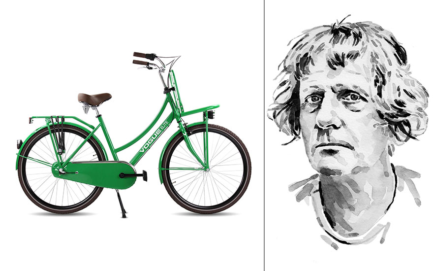From left the Vogue Elite bicycle, photo courtesy of Europe Cycle Company. Illustration of Grayson Perry by Samuel Kerr