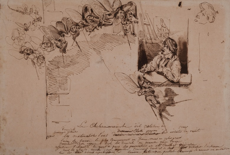 Jean-Ignace-Isidore-Gérard, called Grandville (1803-1847), Le Choléramouche. Pen and brown ink, over graphite, 9 x 13 in (22.8 x 33.8 cm). Estimate €4,000-6,000. Offered in Dessins Anciens et du XIXe Siècle on 27 March at Christie's in Paris