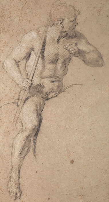 François Lemoyne (1688-1737), Nude study of a horseman carrying a lance. Black chalk, stumped, heightened with white. 14⅖ x 7¾ in (36.6 x 19.7 cm). Estimate €70,000-100,000. Offered in Dessins Anciens et du XIXe Siècle on 27 March at Christie's in Paris