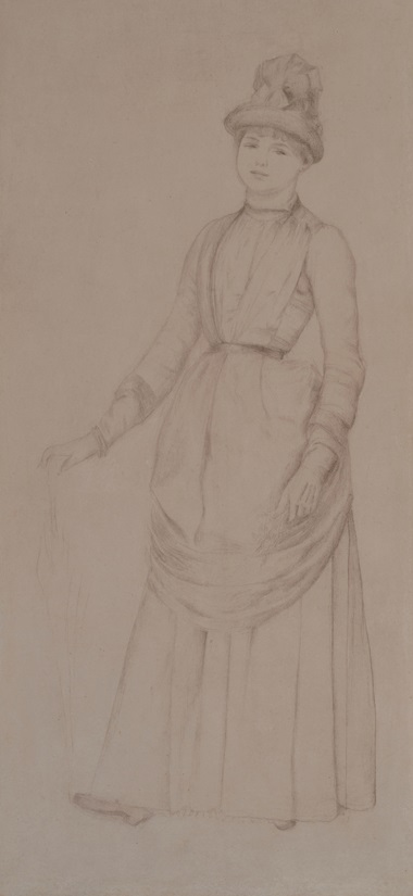 Pierre-Auguste Renoir (1841-1919), A woman with an umbrella. Graphite. 14 x 6 in (35.8 x 16.1 cm). Estimate €70,000-100,000. Offered in Dessins Anciens et du XIXe Siècle on 27 March at Christie's in Paris