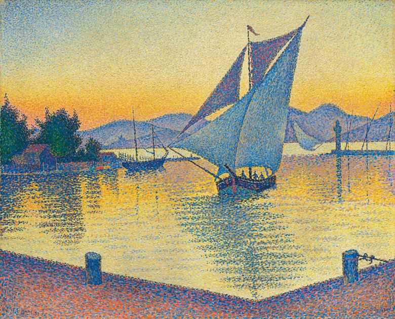 Paul Signac (1863-1935), Le Port au soleil couchant, Opus 236 (Saint-Tropez), 1892. Oil on canvas. 25⅝ x 32 in (65 x 81.3 cm). Estimate on request. Offered in Impressionist and Modern Art Evening Sale on 27 February 2019 at Christie's London