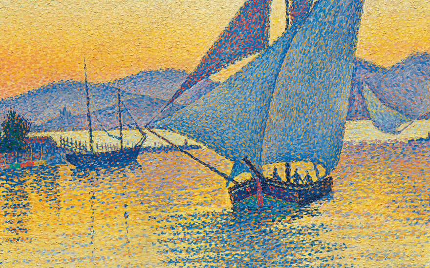 (Detail) Paul Signac (1863-1935), Le Port au soleil couchant, Opus 236 (Saint-Tropez), 1892. Oil on canvas. 25⅝ x 32 in (65 x 81.3 cm). Estimate on request. Offered in Impressionist and Modern