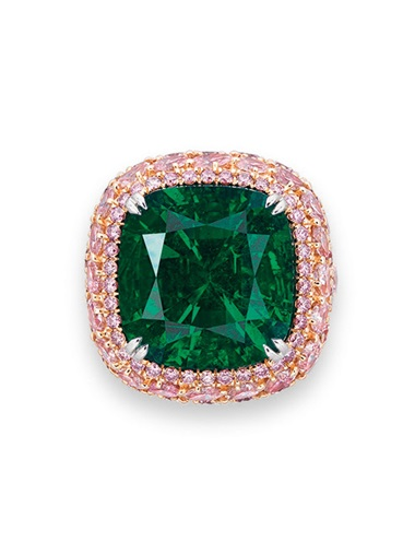 An exclusive emerald and coloured diamond ring. Sold for HK$9,420,000 (around $1,200,000) on 30 May 2017 at Christie's in Hong Kong
