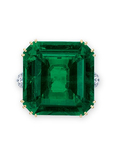An exceptional emerald and diamond ring, by Gimel. Sold for HK$15,040,000 on 25 November 2014 at Christie's in Hong Kong