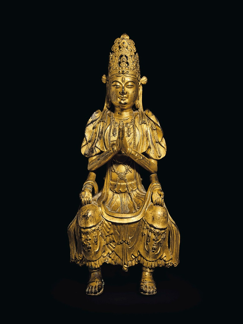 A highly important and extremely rare gilt-bronze figure of a multi-armed Guanyin, China, Yunnan, Dali kingdom, 11th-12th century. 14⅞  in (38  cm) high, stand. Estimate $4,000,000-6,000,000. Offered in Lacquer, Jade, Bronze, Ink The Irving Collection Evening Sale on 20 March 2019 at Christie's in New York