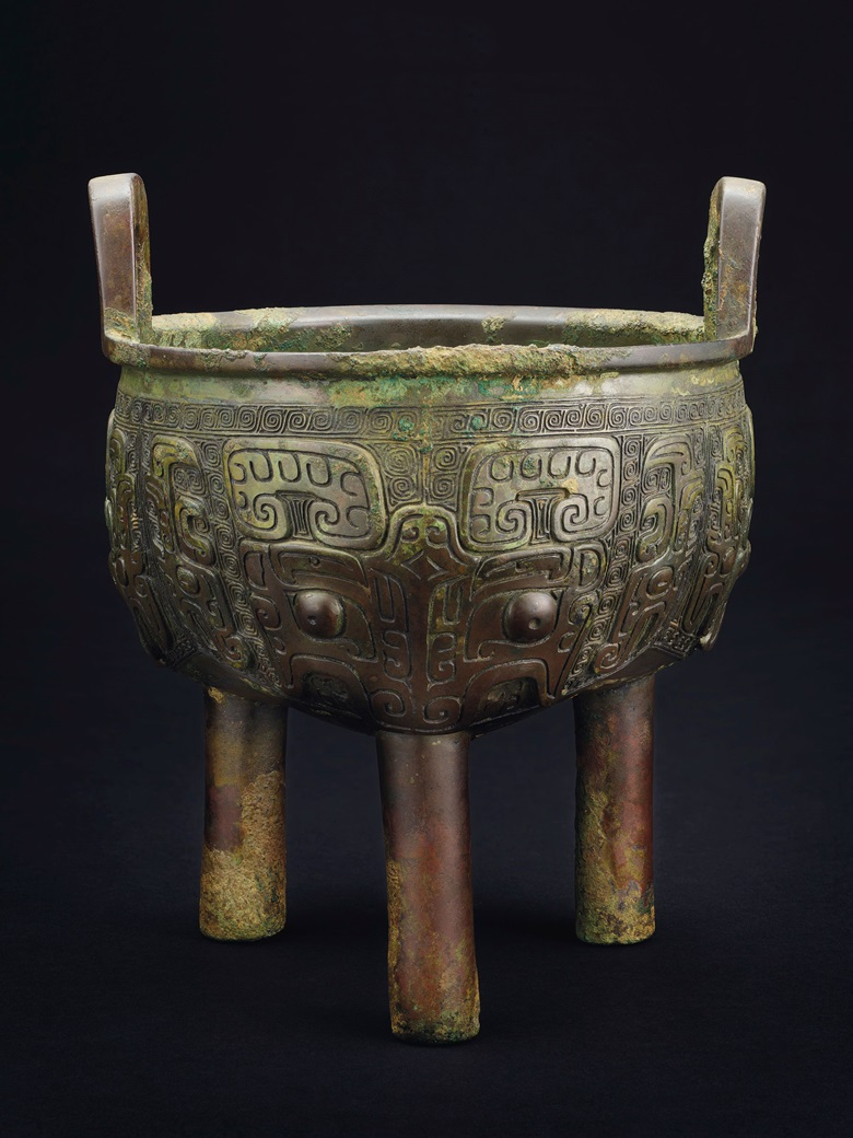 The Fu Yi Liding. A bronze ritual tripod food vessel, late Shang dynasty, Anyang, 12th-11th century BC. 8¼ in (21 cm) high. Sold for $125,000 on 22 March 2019 at Christie's in New York