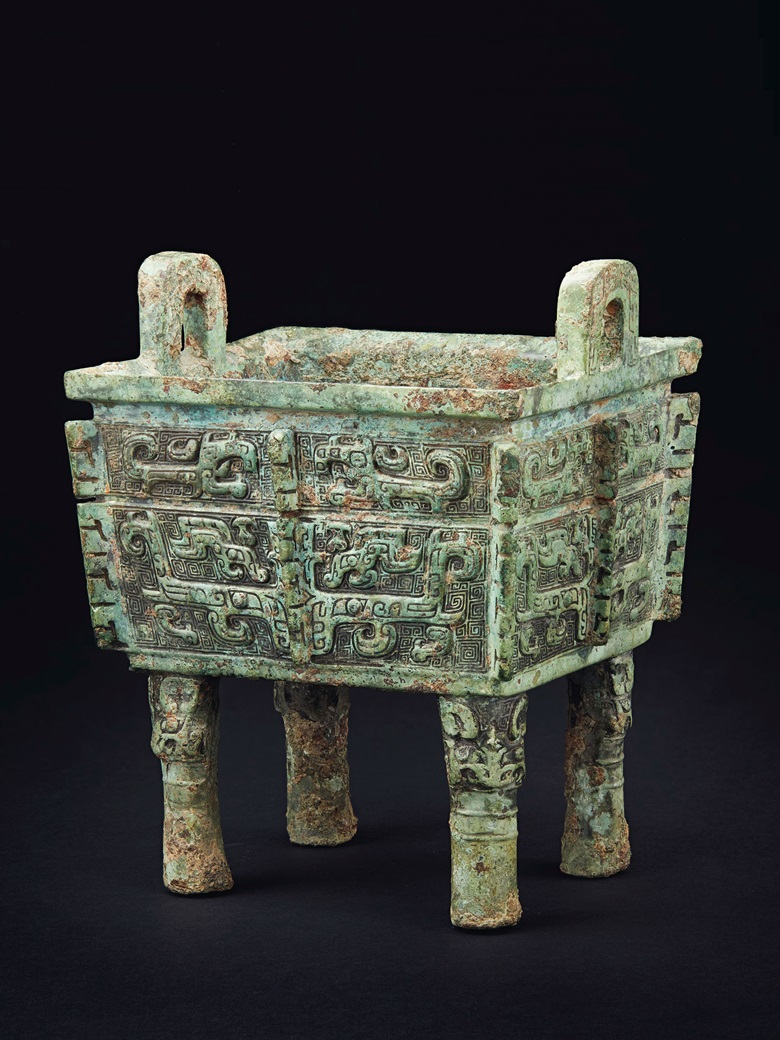 The Shao Fangding, a rare and important bronze ritual rectangular food vessel, late Shang dynasty, Anyang, 11th century BC. 8⅛ in (20.7 cm) high. Sold for $1,095,000 on 22 March 2019 at Christie's in New York