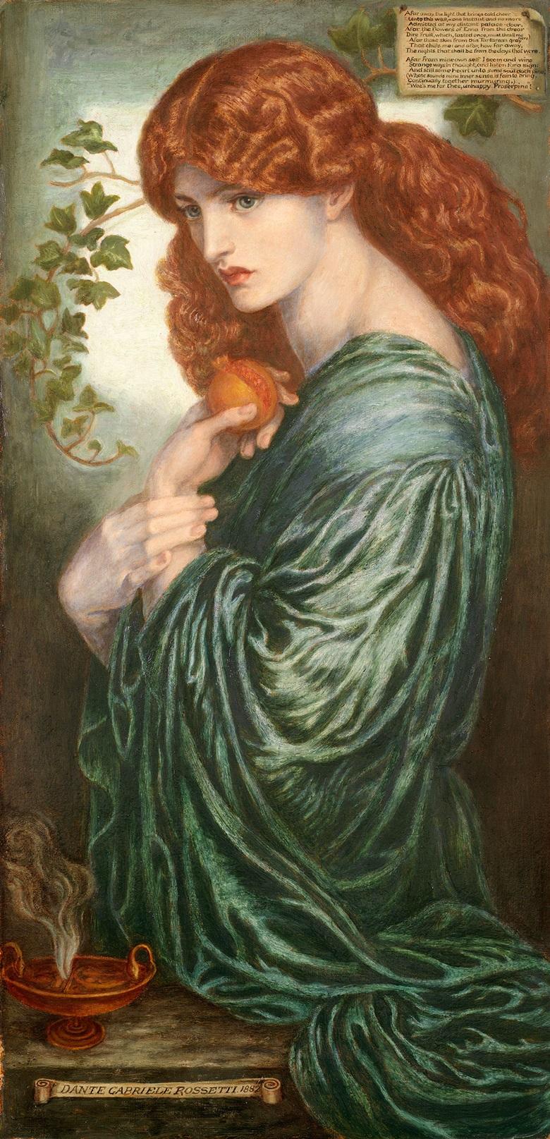 罗塞蒂,《普西芬妮》,1881至1882年作。油彩 画布。伯明翰博物馆信托基金