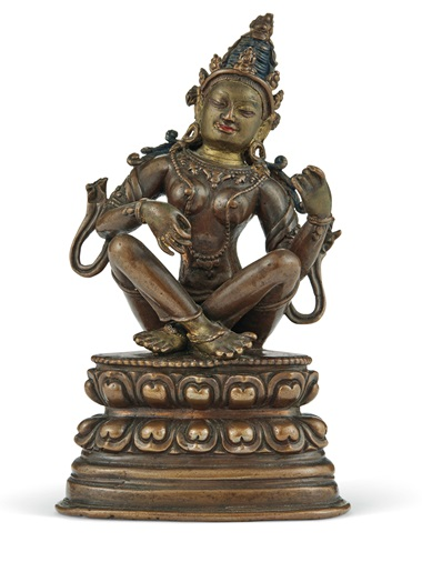 The 18th-century Tibeto-Chinese bronze figure of Sarasvati. 5 in (12.7 cm) high. Estimate $20,000-30,000. Offered on 20 March in the Indian, Himalayan & Southeast Asian Works of Art sale at Christie's in New York