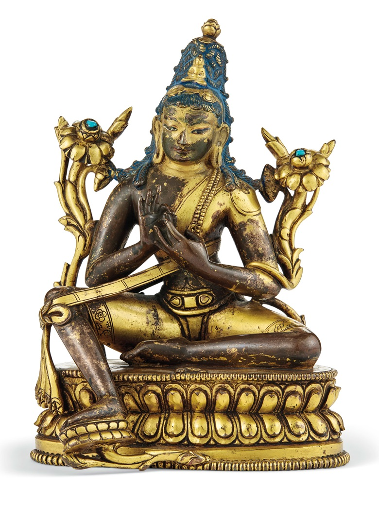 A gilt-bronze figure of Padmapani Lokeshvara, Tibet, 17th-18th century. 7⅛ in (18.1 cm) high. Estimate $60,000-80,000. Offered on 20 March in the Indian, Himalayan & Southeast Asian Works of Art sale at Christie's in New York
