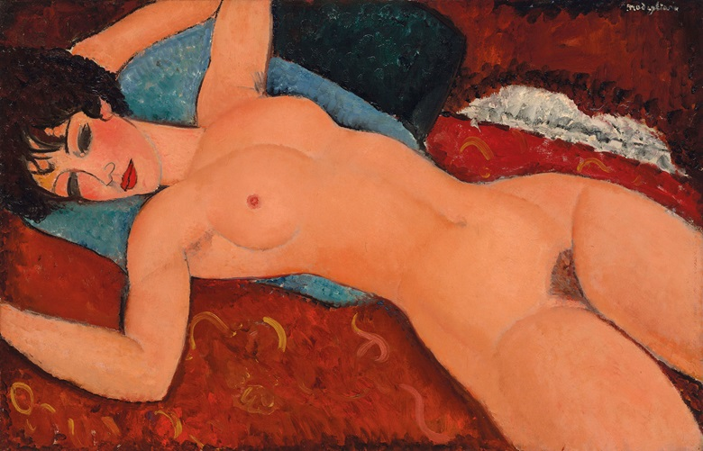 Amedeo Modigliani (1884-1920), Nu couché, 1917-1918. 23⅝ x 36 ¼  in (59.9 x 92  cm). Sold for $170,405,000 on 9 November 2015 at Christie's in New York