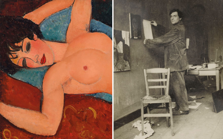 (Left, detail) Amedeo Modigliani (1884-1920), Nu couché, 1917-1918. (Right) Modigliani in his studio, rue Ravignan, 1915. Photo © RMN-Grand Palais (musée de lOrangerie)  Archives