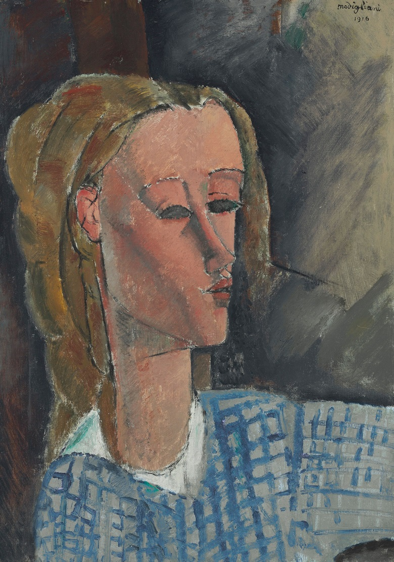 Amedeo Modigliani (1884-1920), Beatrice Hastings, 1916. 25 ½ x 18⅛  in (64.9 x 45.9  cm). Sold for $16,069,000 on 14 May 2015 at Christie's in New York
