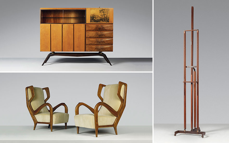 Clockwise from top Carlo Mollino (1905-1973), A Unique Cabinet, for The Casa Albonico, Turin. Estimate £150,000-200,000. Carlo Scarpa (1906-1978), An Easel, designed