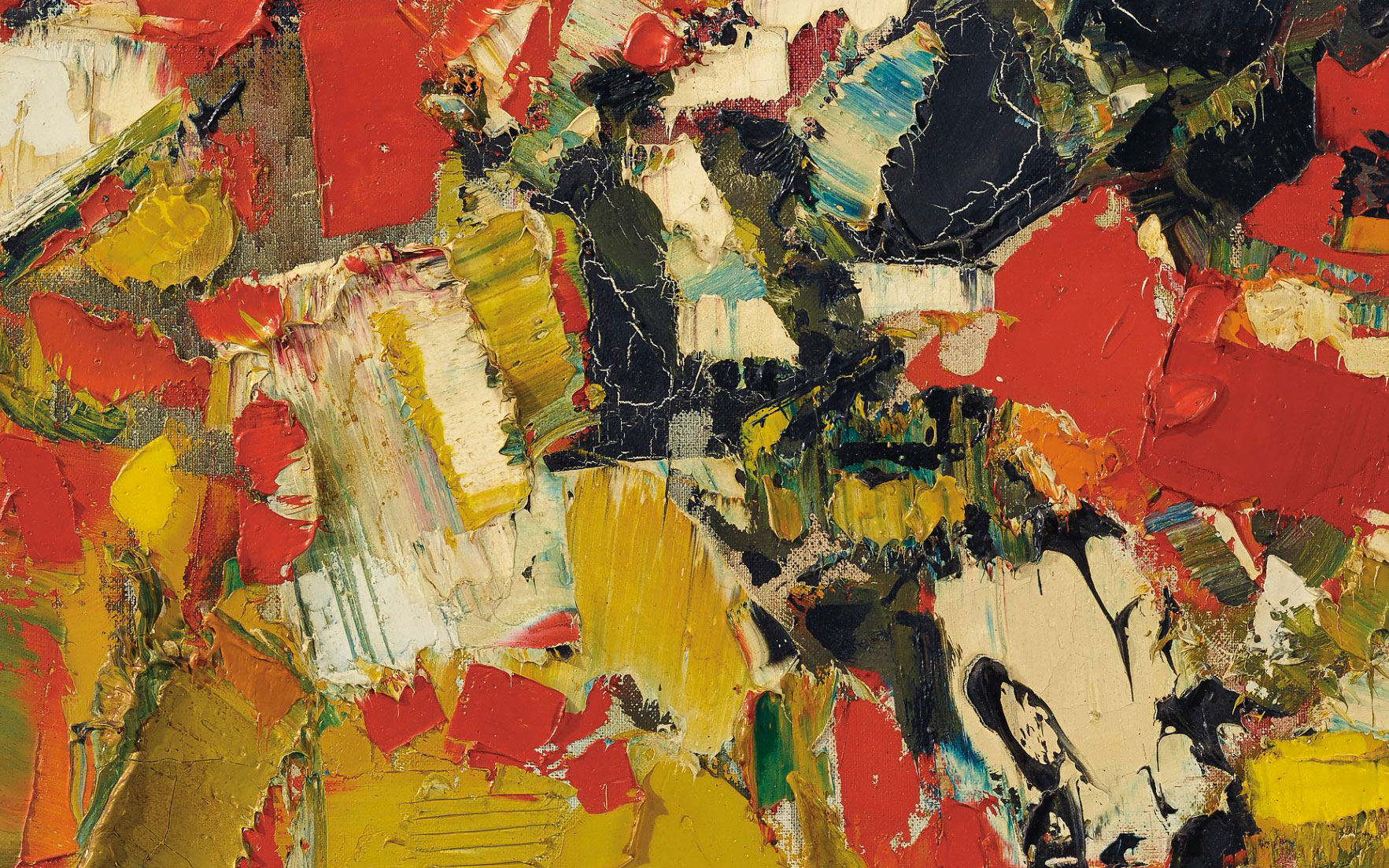 (Detail) Syed Haider Raza (1922-2016), Plein Soleil, 1961. 36¼ x 28⅞  in (92.1 x 73.3  cm). Sold for $187,500 on 20 March 2019 at Christie's in New York
