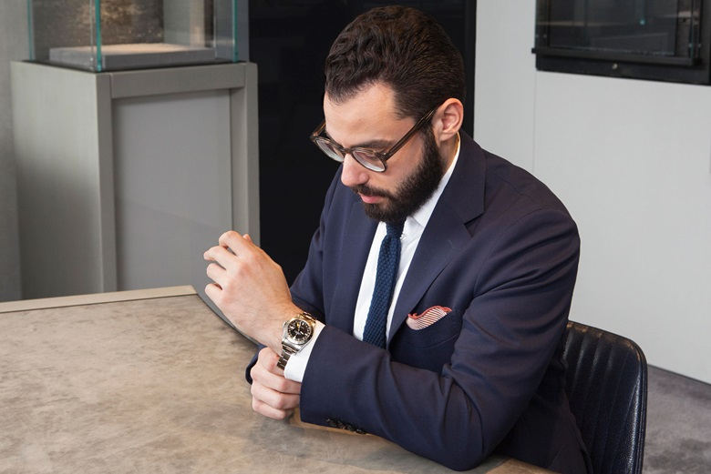 Brandon Frazin admires the Rolex Explorer II from circa 1980