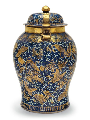 An unusual very large blue-ground jar and cover, 18th century. 24⅝ in (62.5 cm) high. Estimate $10,000-15,000. Offered in The Tibor Collection A Noble Eye for Chinese Export on 10 April 2019 at Christie's in New York