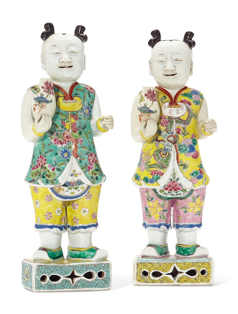A large pair of famille rose laughing boys, Qianlong period (1736-1795). 14 in (35.5 cm) high. Estimate $20,000-30,000. Offered in The Tibor Collection A Noble Eye for Chinese Export on 10 April 2019 at Christie's in New York