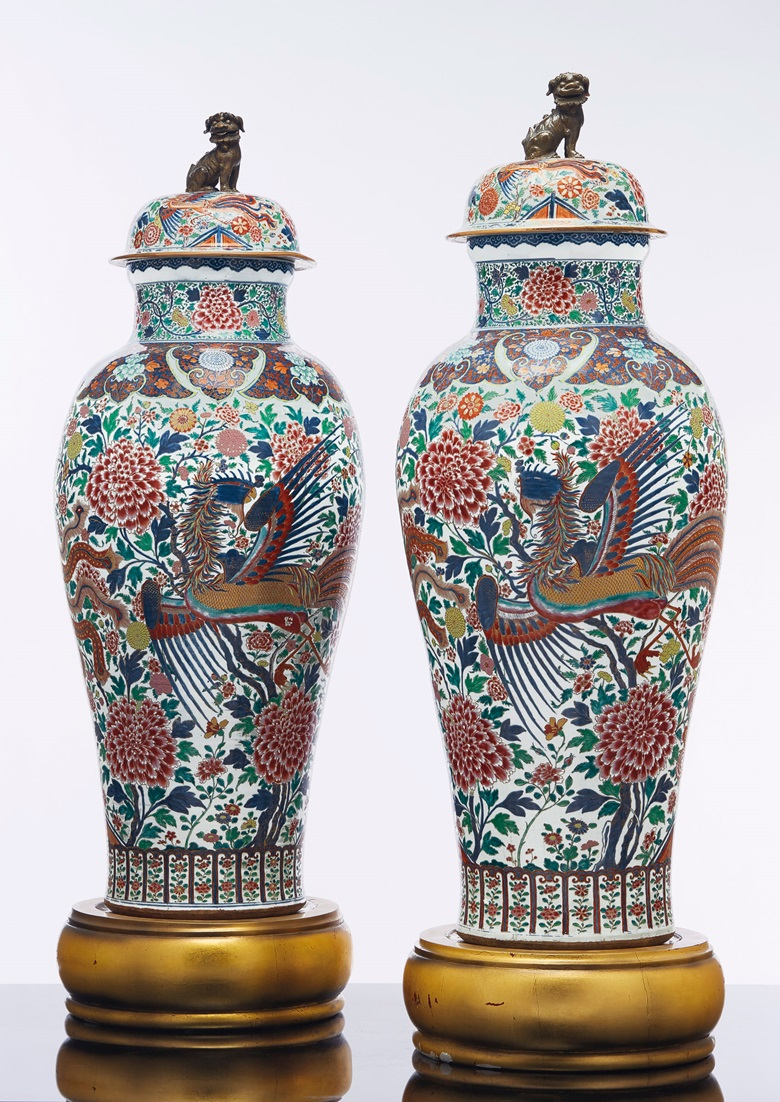 A pair of Rose-Imari 'Soldier' vases and covers, YongzhengEarly Qialong period, circa 1735. 52 in (132.1 cm). Estimate $175,00-275,000. Offered in The Tibor Collection A Noble Eye for Chinese Export on 10 April 2019 at Christie's in New York