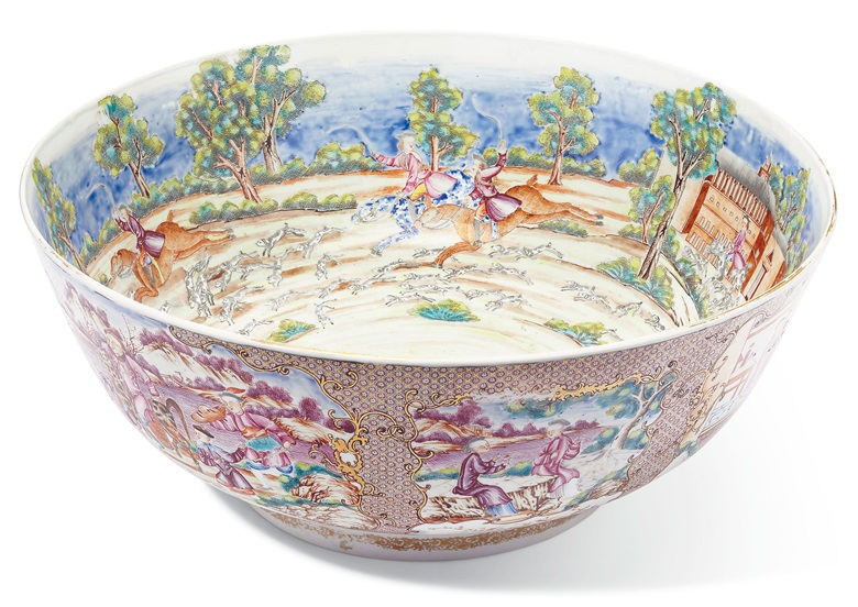 A rare large tiger and foxhunting bowl, Qianlong period, circa 1785. 16 in (40.6 cm) diameter. Estimate $15,000-25,000. Offered in The Tibor Collection A Noble Eye for Chinese Export on 10 April 2019 at Christie's in New York