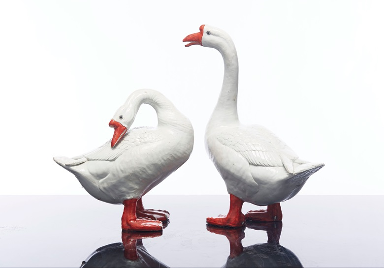 A massive pair of geese, late 18thearly 19th century. 22¼ in (56.5 cm) high the taller. Estimate $40,000-60,000. Offered in The Tibor Collection A Noble Eye for Chinese Export on 10 April 2019 at Christie's in New York