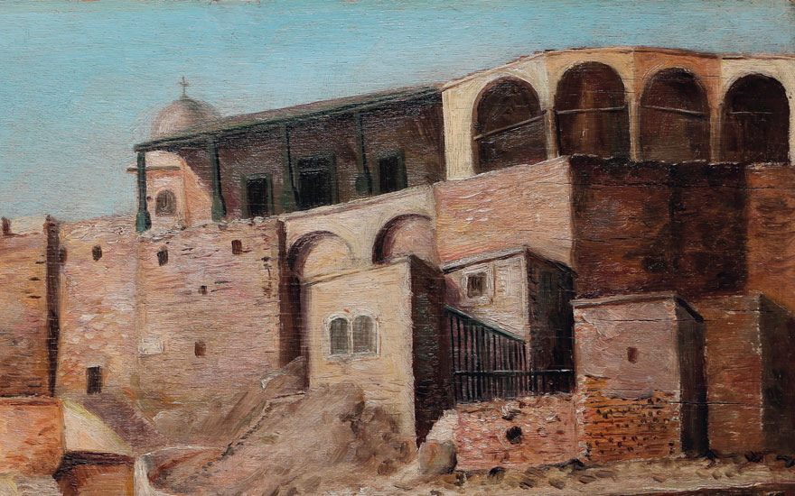 Detail Nicola Saig (Palestinian, 1863-1942), Untitled (Deir Saidnaya), painted circa  1920s. 11¼ x 15 in (28.5 x 38 cm). Estimate $35,000-45,000. Offered in Middle Eastern Modern & Contemporary Art on