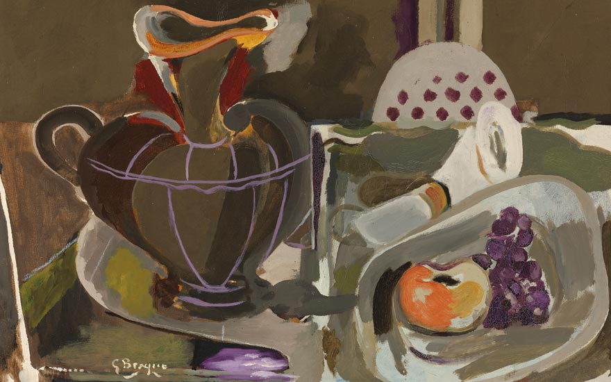 Georges Braque (1882-1963), Nature morte à la grande cruche, Painted in 1955. Signed G Braque (lower left). Oil on canvas. 21 ¼ x 28 ¾ in. (54 x 73 cm.)