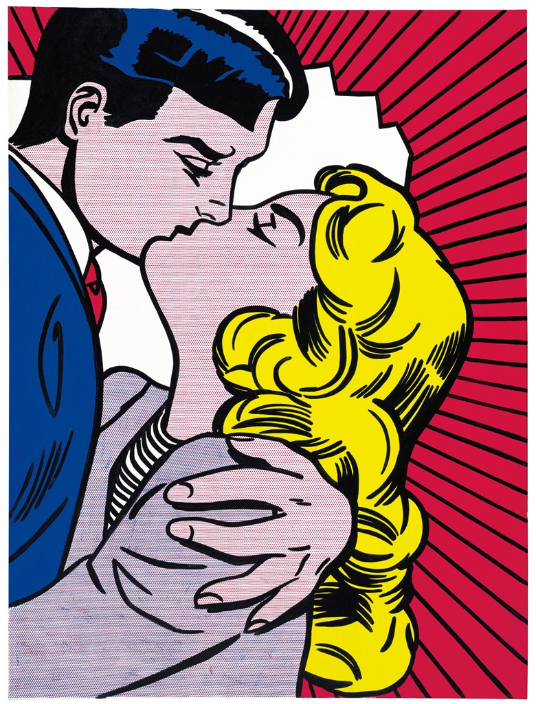 Roy Lichtenstein (1923-1997), Kiss III, 1962. Magna on canvas. 64 x 48 in (162.6 x 121.9 cm). Estimate on request. Offered in the Post-War and Contemporary Art Evening Sale on 15 May at Christie's in New York © Estate of Roy Lichtenstein
