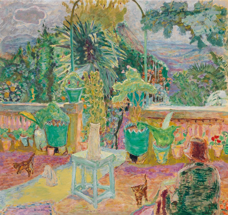 Pierre Bonnard (1867-1947), La Terrasse ou Une terrasse à Grasse, 1912. 49¼ x 52⅞  in (125.3 x 134.4  cm). Sold for $19,570,000 on 13 May 2019 at Christie's in New York