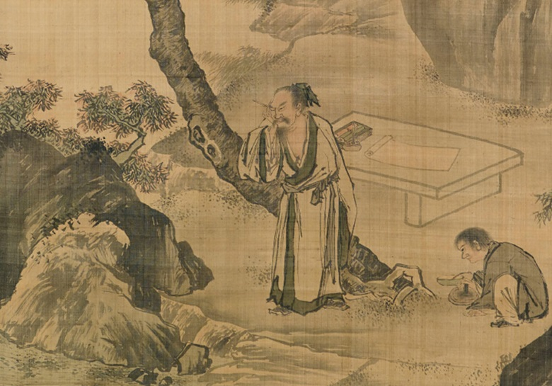 Detail showing a scholar preparing to practice calligraphy, from Scholars Admiring WaterfallScholar Pondering, an anonymous 17th to 18th century work