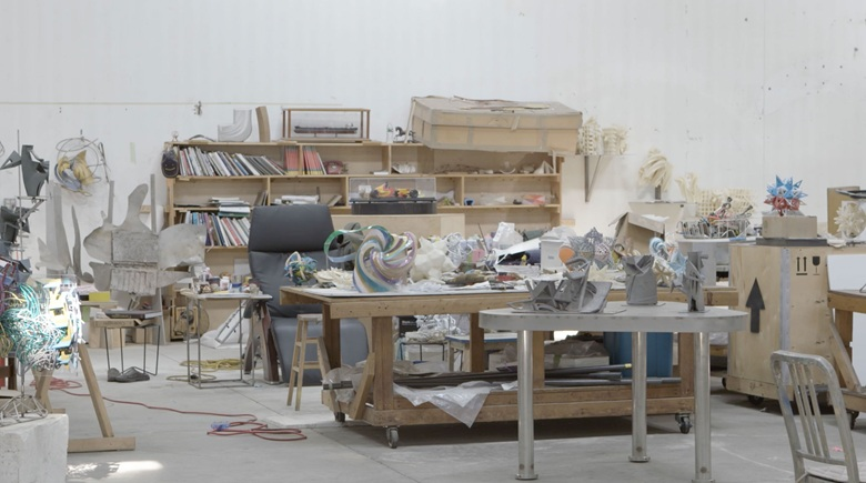 The office area of Frank Stella's studio, where ideas begin to take shape