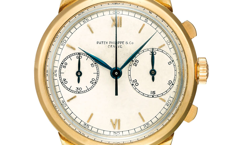 Detail of Patek Philippe, an extremely fine and large, highly important and probably unique 18k gold 'prototype' chronograph wristwatch with uniquely constructed case and dial with