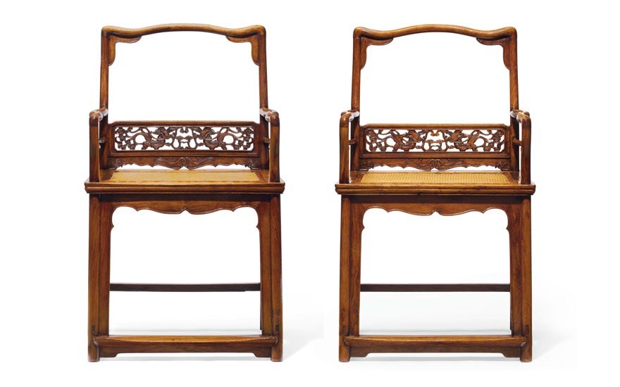 2857215f15b4 A very rare pair of huanghuali low-back armchairs, fushouyi, 17th century.
