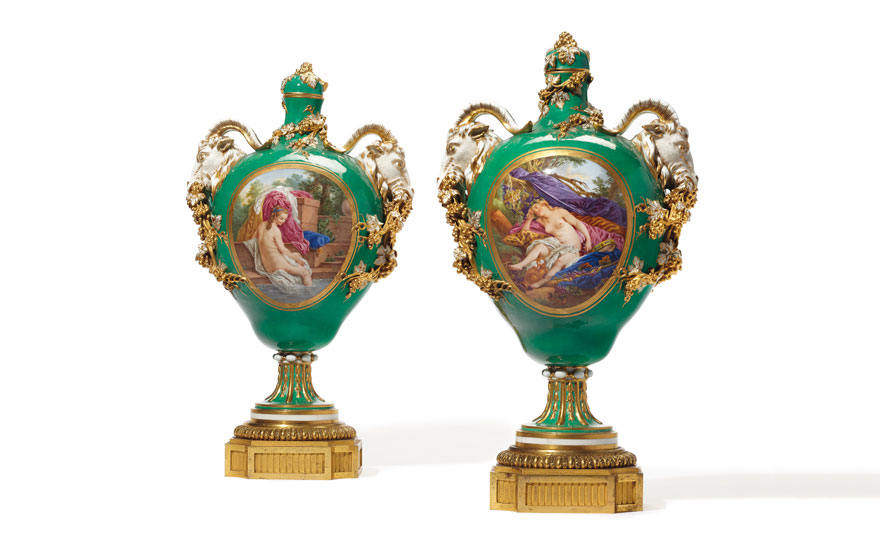 A pair of ormolu-mounted Sèvres porcelain green-ground vases and covers, circa 1770. Estimate $80,000-120,000. Offered in The Desmarais Collection on 30 April 2019 at