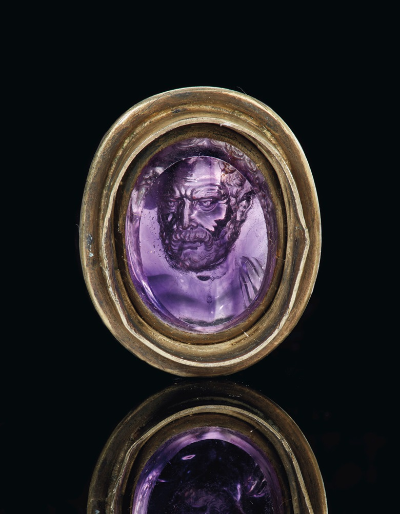 A Roman amethyst portrait cameo, signed Dioskourides, circa late 1st century BC. Estimate $200,000-300,000. Offered in Masterpieces in Miniature Ancient Engraved Gems Formerly in the G. Sangiorgi Collection on 29 April 2019 at Christie's in New York