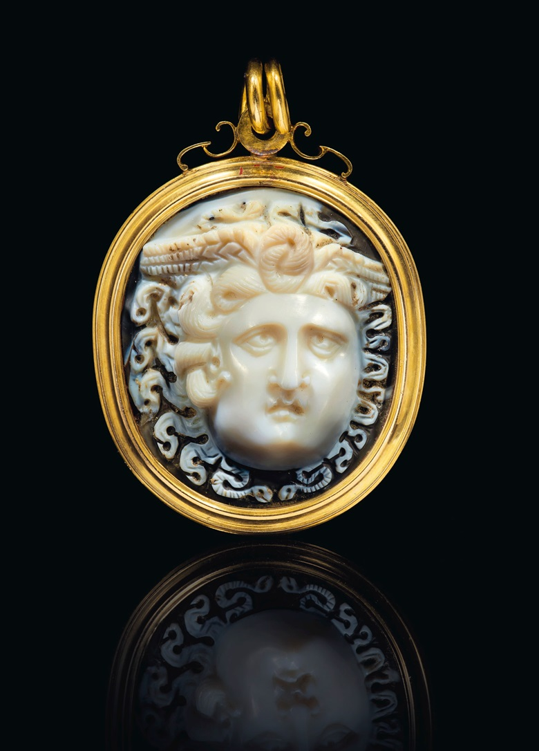 A Roman onyx cameo, circa 1st century AD. Estimate $30,000-50,000. Offered in Masterpieces in Miniature Ancient Engraved Gems Formerly in the G. Sangiorgi Collection on 29 April 2019 at Christie's in New York