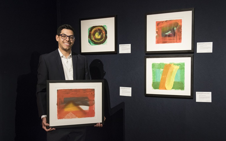 James Baskerville holding Howard Hodgkin (1932-2017), Snow, 1995. Image & Sheet 267 x 356 mm. Estimate £2,500-3,500. This lot is offered in  Feelings in Colour The Graphic Art of Howard Hodgkin, 4-12 April 2019, Online. Artworks © Howard Hodgkin