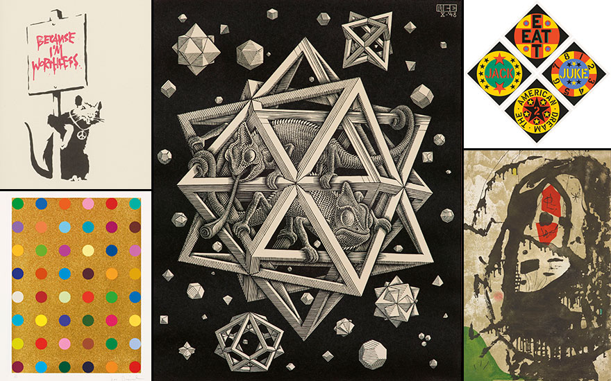 Clockwise from top left Banksy (b. 1975), Because Im Worthless, 2004. Screenprint in black and red. Estimate £7,000-10,000. Maurits Cornelis Escher (1898-1972), Stars, 1948. Wood