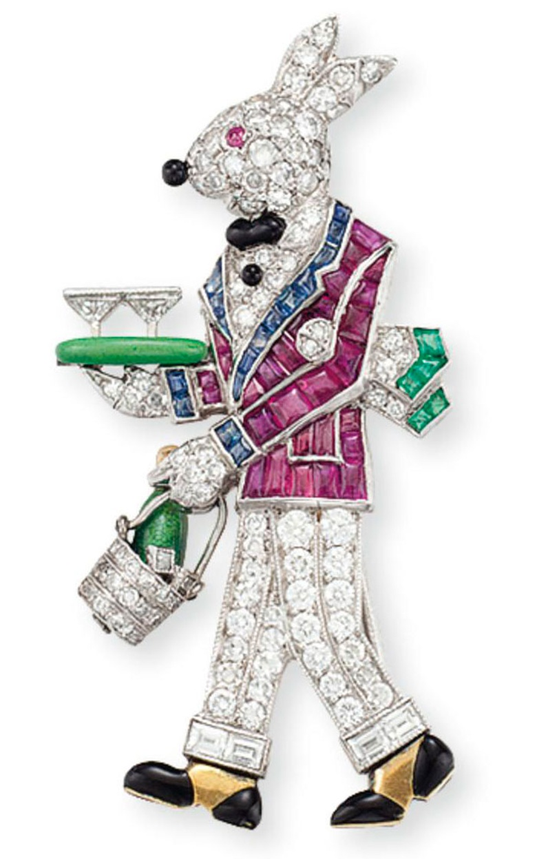 A diamond and multi-gem Rabbit brooch, by Raymond Yard. Sold for $37,500 on 22 October 2014 at Christie's in New York