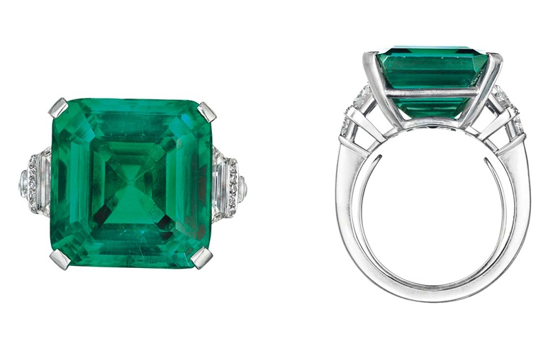 The Rockefeller Emerald, a rare and historic emerald and diamond ring, by Raymond Yard. Sold for $5,511,500 on 20 June 2017 at Christie's in New York