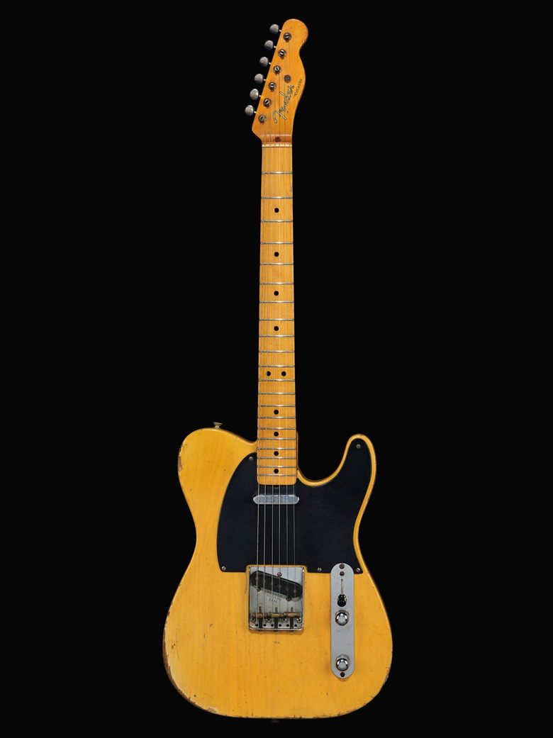 Fender Electric Instrument Company, Fullerton, 1952. A solid-body electric guitar, Telecaster. Estimate $35,000-55,000. Offered in The David Gilmour Guitar Collection on 20 June at Christie's in New York