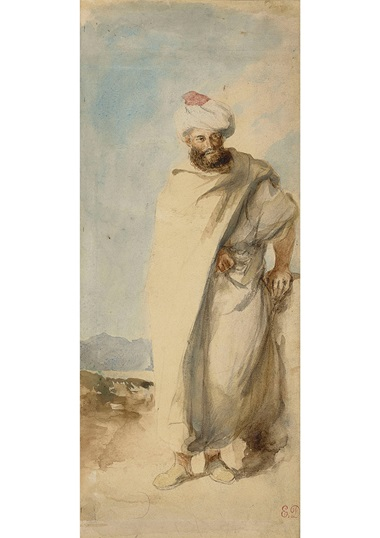 Eugène Delacroix (1798-1863), Eastern man standing in turban. Graphite watercolour. 28.5 x 12 cm. Sold for €68,750 on 27 March 2019 at Christie's in Paris