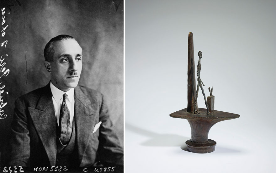 (left) Gabriel Péri photographed in 1932, nine years before his execution. Photo Agence Mondial. Bibliothèque nationale de France; (right) Alberto Giacometti (1901-1966), Projet