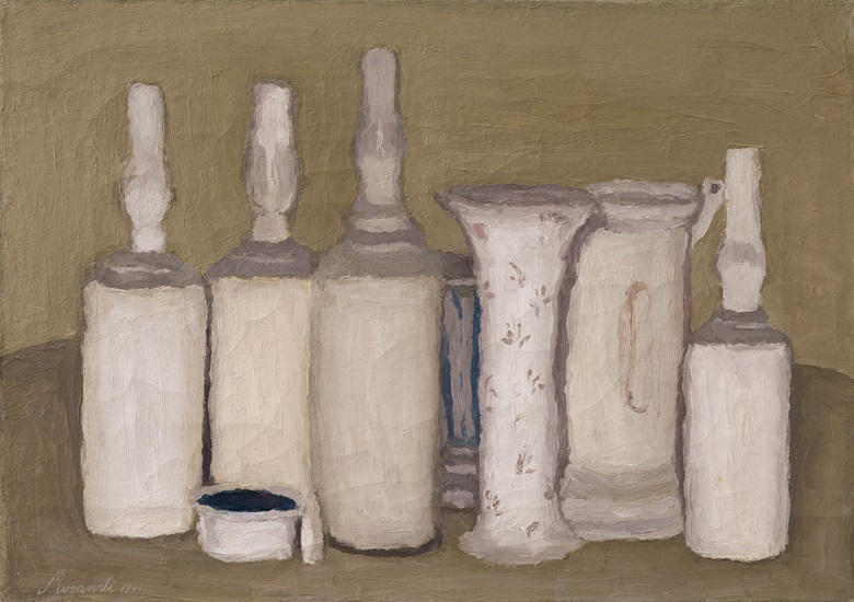 Giorgio Morandi (1890-1964), Natura morta, 1941. Oil on canvas. 13¾ x 19¼ in (34.8 x 49.1 cm). Sold for $2,415,000 in the Impressionist and Modern Art Evening Sale on 13 May at Christie's in New York