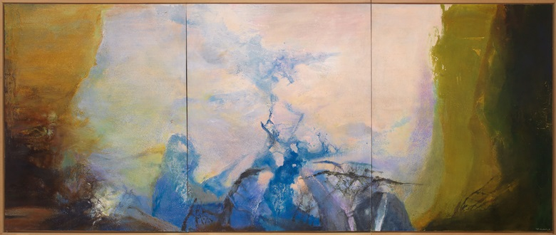 Zao Wou-Ki, Triptyque1987-1988, painted in 1987-88. Oil on canvas (triptych). Overall 200 x 486 cm (78¾ x 191⅜ in). Estimate HK$120,000,000-150,000,000 US$15,000,000-20,000,000. Offered in Asian 20th Century and Contemporary Art Evening Sale on 25 May at Christie's in Hong Kong