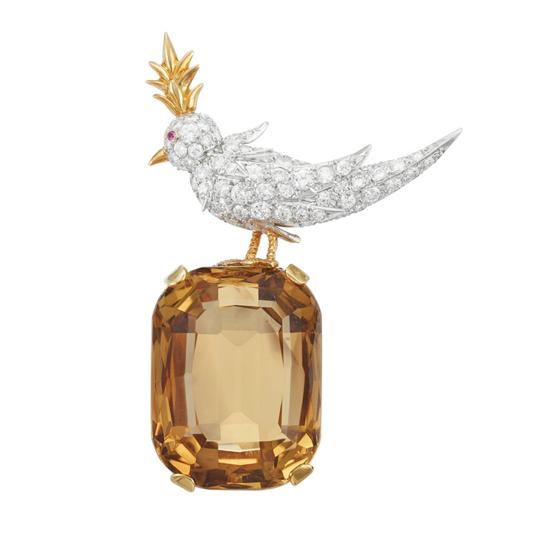 A citrine, diamond and ruby 'Bird on a Rock' brooch by Jean Schlumberger, Tiffany & Co. Estimate $12,000-18,000. Offered in Magnificent Jewels on 16 April at Christie's in New York